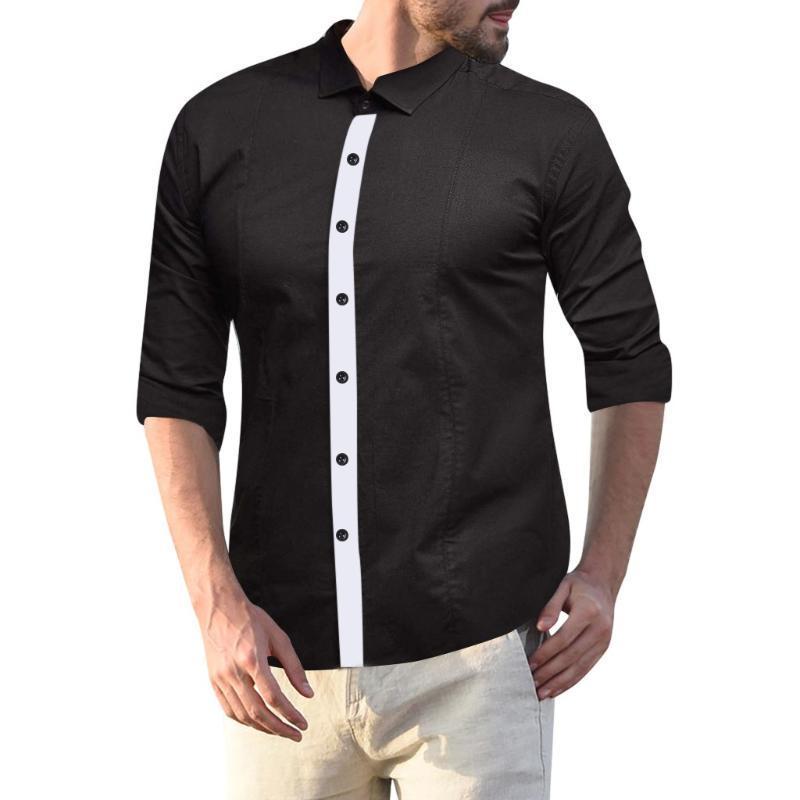Camisas de vestir de otoño casual camisa de manga larga básica Negro Fit Silm camisa Bussiness Ropa para Hombres remiendo Top Camisas hombre