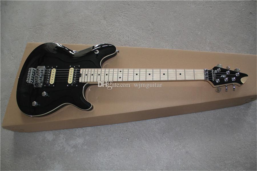 사용자 정의 EV 광택 검은 기타, VH 기타, Basswood 바디 메이플 목, HH 픽업, 플로이드 로즈 트레몰로, 크롬 하드웨어, 22 프렛, 화이트 바인딩