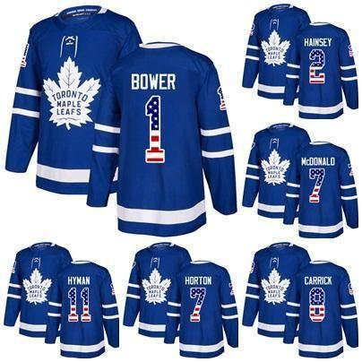 Custom USA Flag Toronto Maple Leafs Johnny Bower Lanny McDonald Ron Hainsey Connor Carrick 11 Zach Hyman 7 Tim Horton Hockey Jerseys Blue