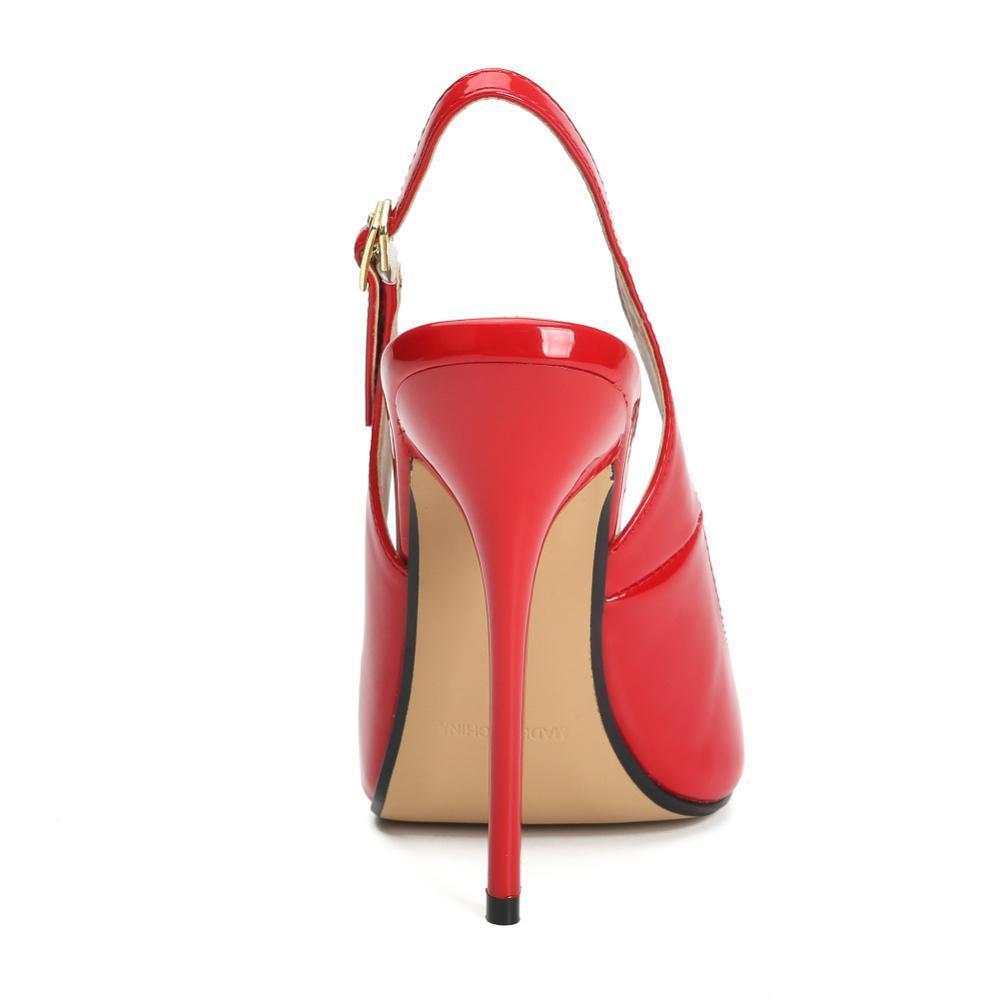 Grande Dimensione Estate tacco del sandalo sandali degli alti talloni donne peep toe cinturino posteriore rossi del partito di nozze nero sexy pattini della signora CX200715