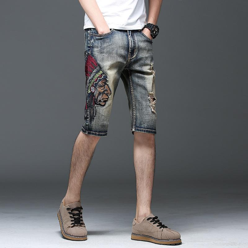 yASR6 PdY2G Summer new denim shorts non-mainstream Shorts men's and Trousers straight trousers and loose large size embroidered Indian men's