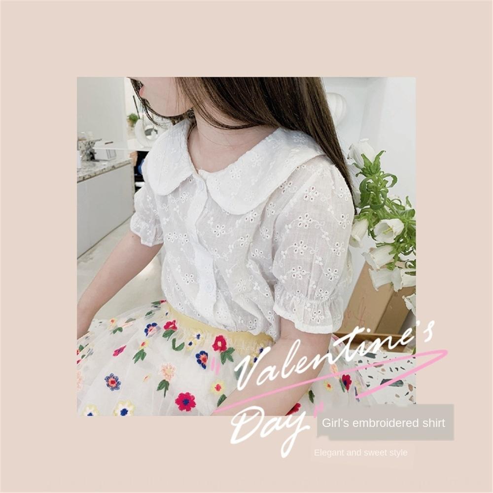 muñeca cuello de la camisa 2020 Verano nuevo estilo de Corea del hueco-hacia fuera de encaje de manga corta camiseta de 4RyYV las niñas de niño desgaste de los niños del cordón de la Infancia