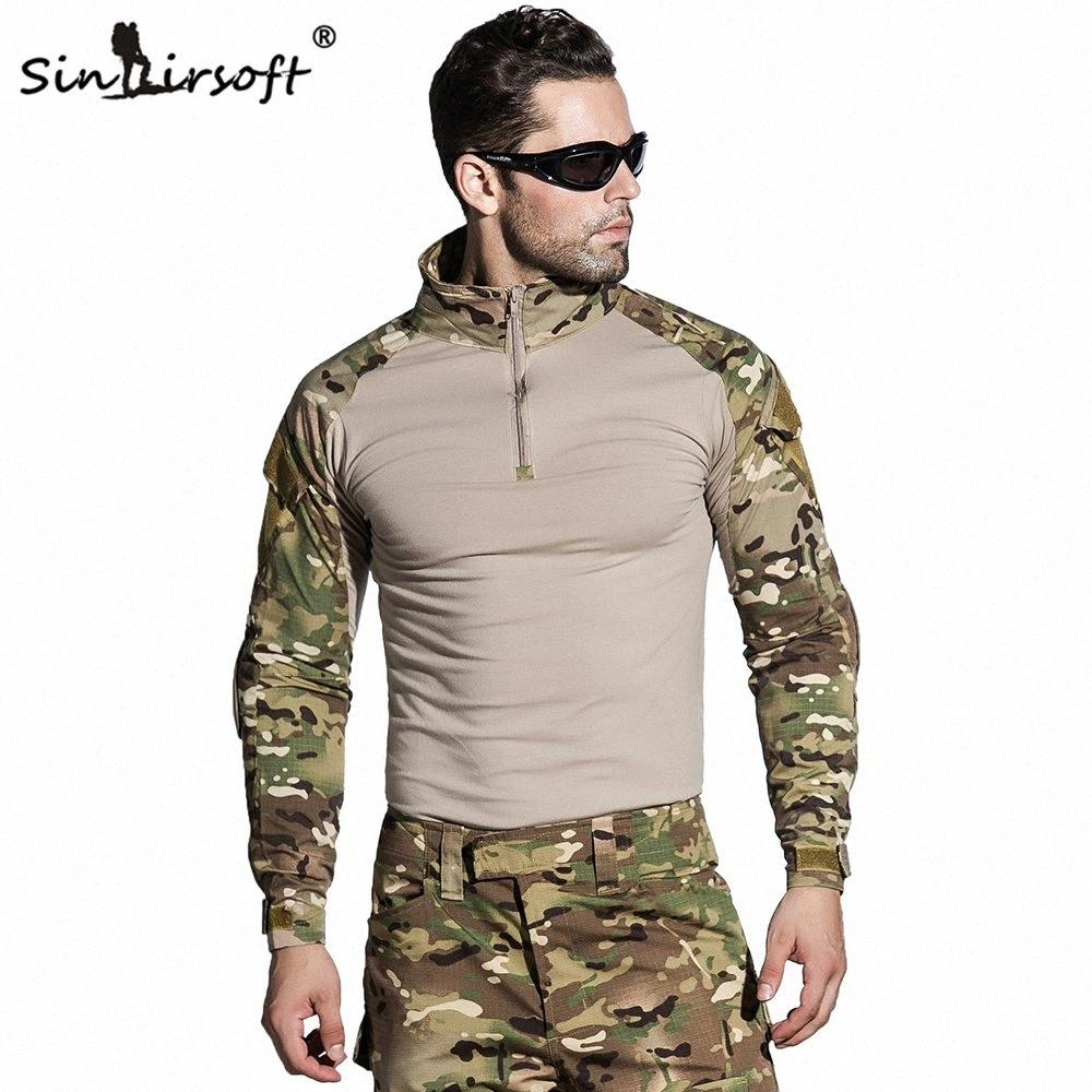 SIN Camouflage Tactical Uniform US Army Combat Shirt Only Cargo Multicam Paintball With Elbow Pads JLx2#