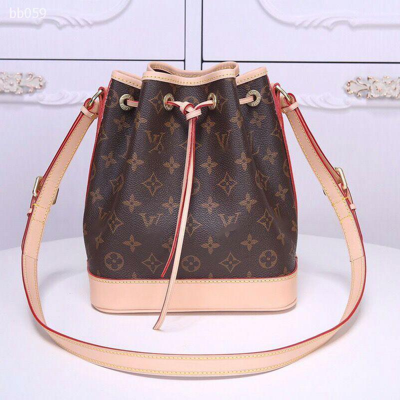 Lazo de hombro manera de las mujeres Cubo Bolsa Top Vintage Bolsa de alta capacidad Brown blanca clásica Mochila Bolsa 2 colores Canva Bucket el TYPE5