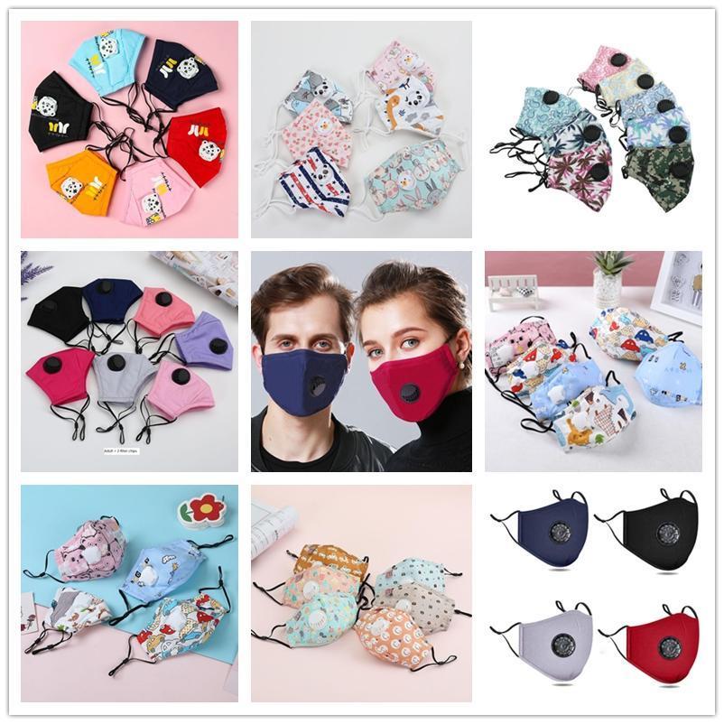 Maschera traspirante bambini per adulti riutilizzabile lavabile anti Haze respirazione valvola PM2.5 Estate puro tessuto di cotone Bocca Maschere Designer