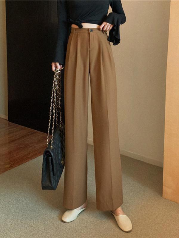 2020 2020 mujeres del verano Imperio Corea del estilo de la moda Color sólido drapeado cintura suelta oficina pantalones de señora Casual Traje recto flojo Pantalones X0HG #