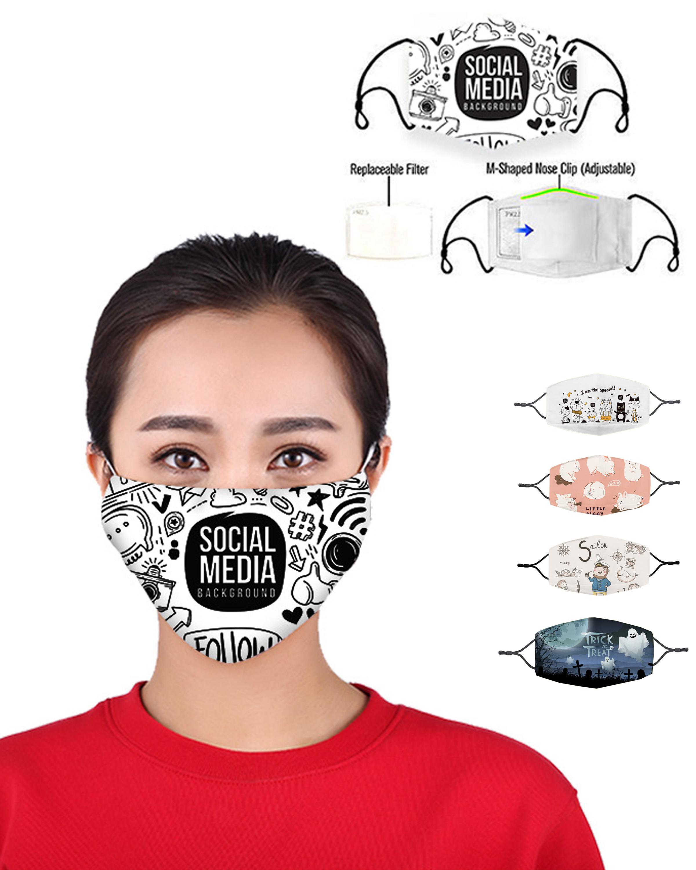 2020 NOUVEAU Lavable élastique Mascherine Masques bouche Print Designer 4 Couche Earloop respirateurs poussière Filtrition Masque Visage pour Homme Femme