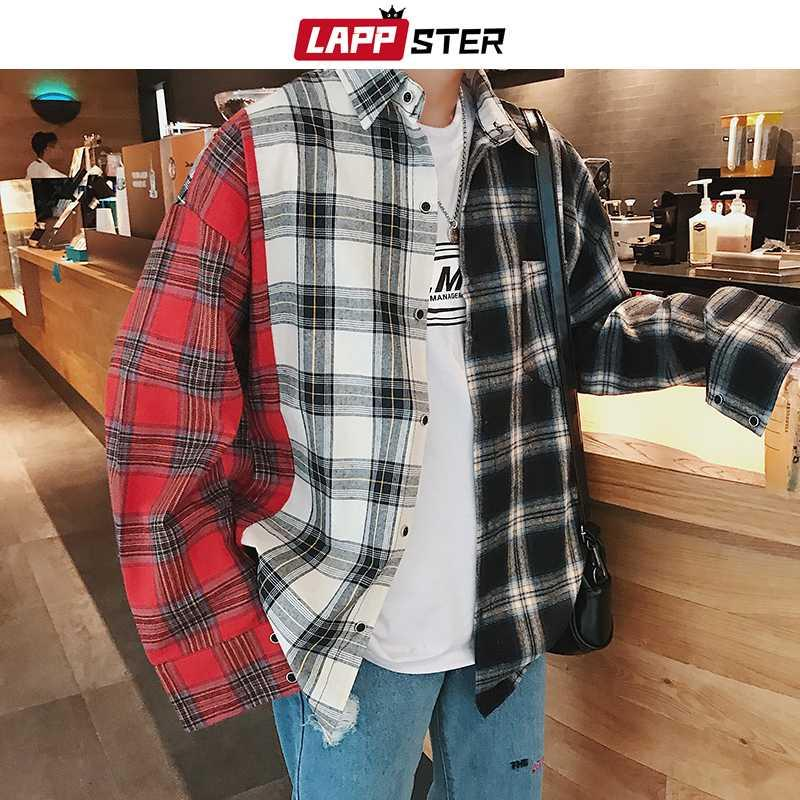 남성 캐주얼 셔츠 라파터 남성 패치 워크 블랙 셔츠 긴 소매 2021 남성 일본가 스트리트웨어 힙합 남성 디자이너 면화
