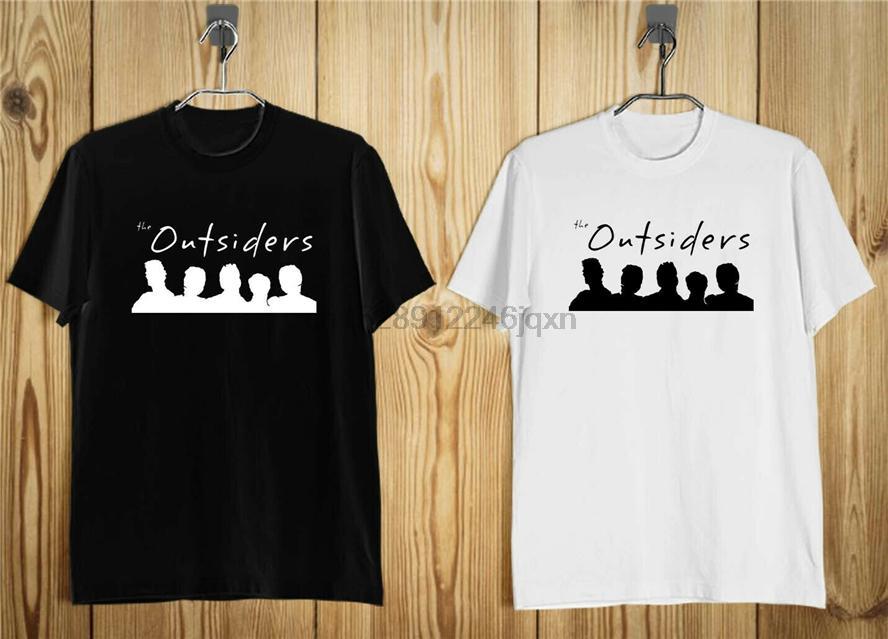 Yeni Dışarıdakiler 80S Dram Filmi Erkek Tişörtü Siyah Ve Beyaz Yaz O-Boyun Tee Shirt
