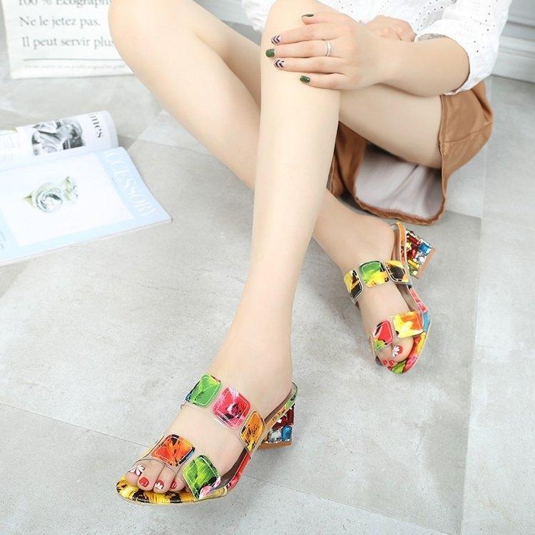 estate tacco q9wOH nuovo colore coreano strass stile strass spessa 2019 di una linea modello caramelle Sandalo metà tacco esterno alla moda wo mis27