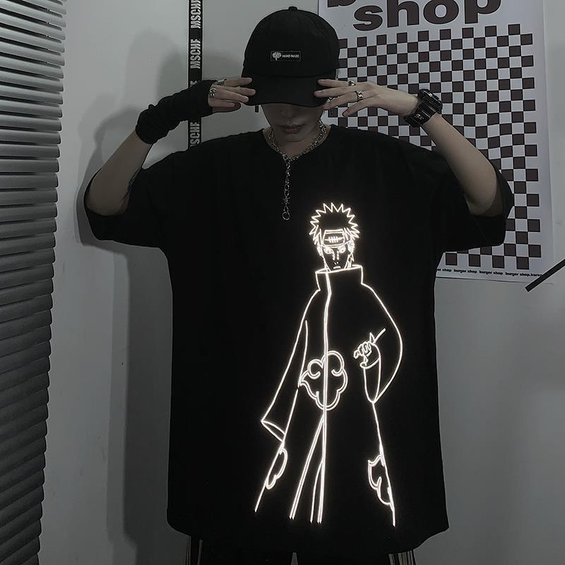 20200715 desenho animado escuro homens Top manga solta T-shirt curto da e superior do casal de mulheres