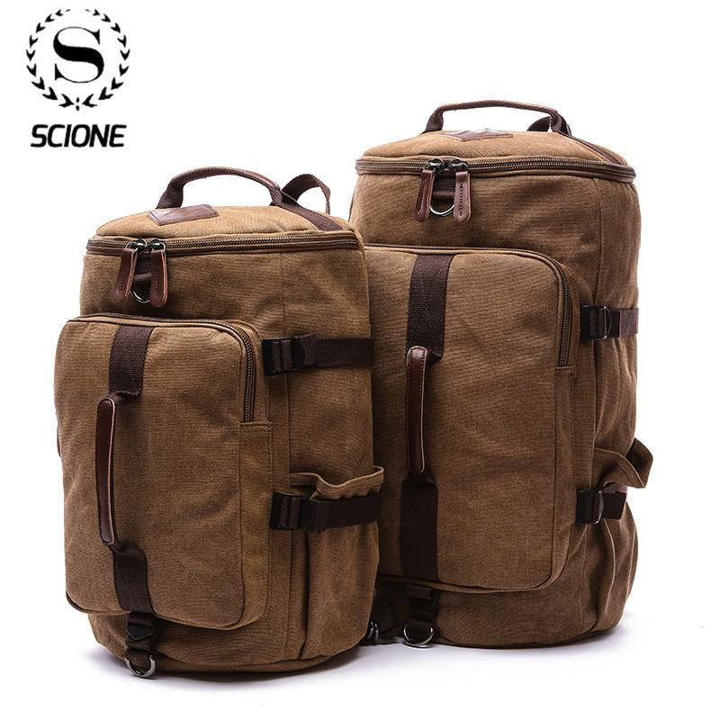 Scione Large Capacity Man Travel Bag Mountaineering Backpack Male Bags Canvas Bucket Shoulder Backpack Carry on Luggage bag CX200718