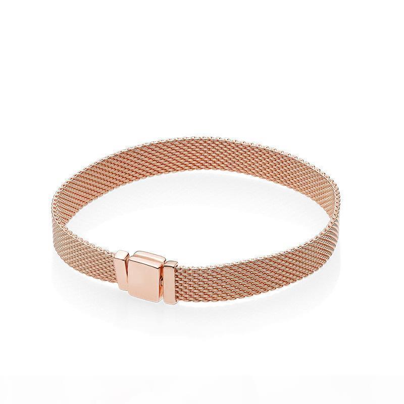 NUEVO reloj de oro de 18K Rose correa de cadena de los hombres mano de las mujeres Reflexiones de la pulsera de la caja original de Pandora 925 pulseras de plata
