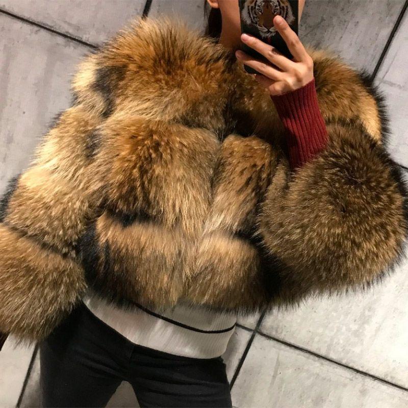 Lavelache 2020 New Real Piel Abrigo Chaqueta de invierno Parka Parka Mapache Natural Mapache Abrigo de piel High Street Grueso Cálido O cuello de cuello ancho