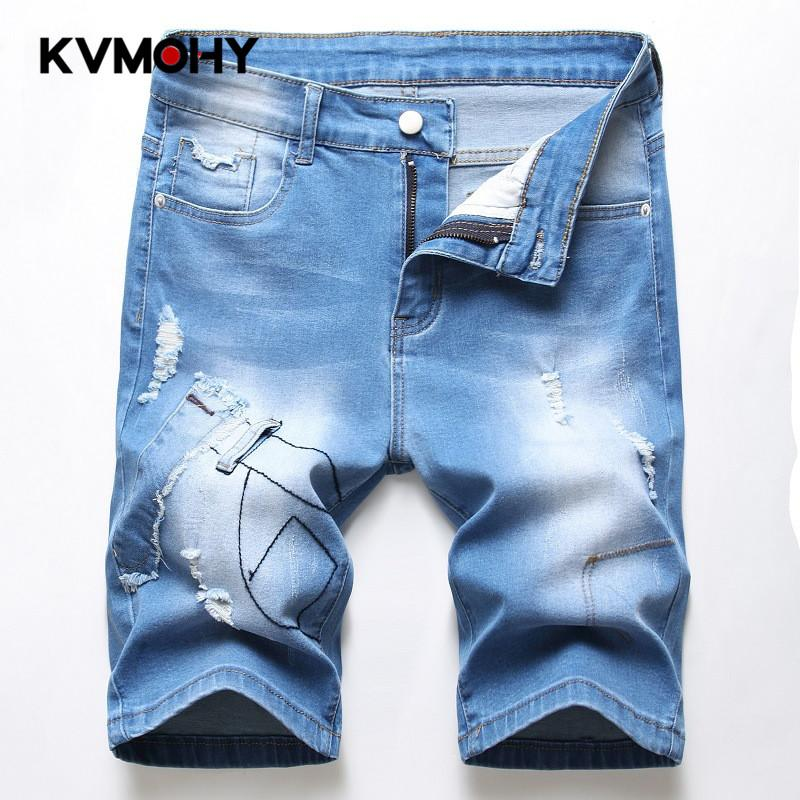 Jeans Men Stretch Shorts High Waist Man Jean Fashion Casual Slim Fit Elastic Denim Short Male Brand Clothes Jeans Mujer