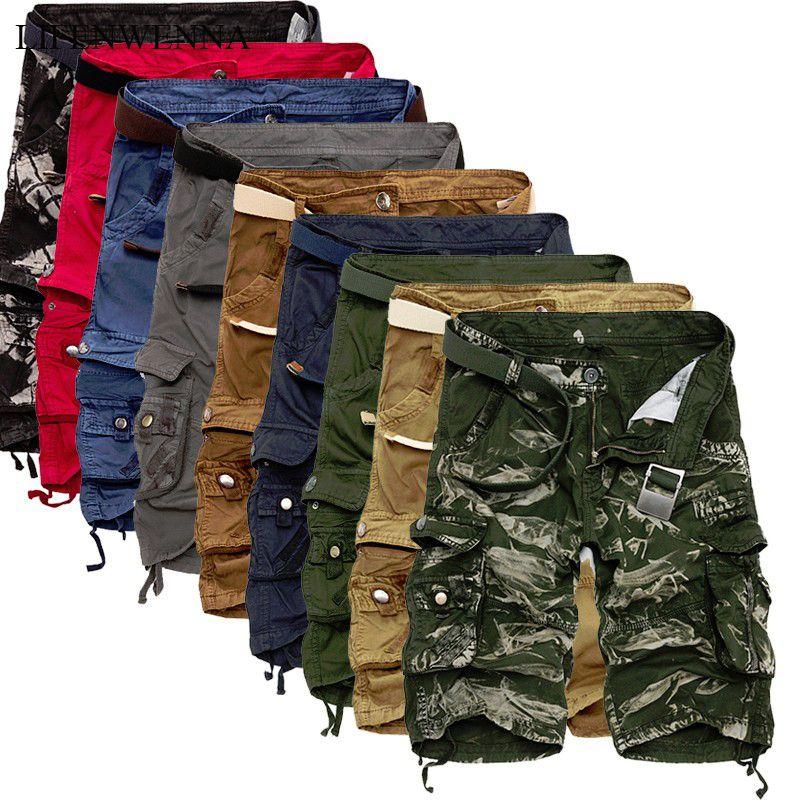 LIFENWENNA carretera Pantalones cortos de hombres fresco de camuflaje de algodón ocasional del verano de los pantalones cortos de los hombres a estrenar ropa cómoda Camo Short cargo
