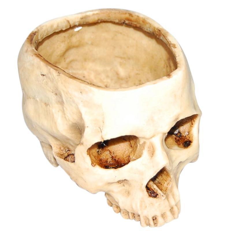 Reçine İnsan Kafatası Modeli Saksı Parlayan Meyve Tabağı Depolama Konteyner Ev Masa Dekorasyon Halloween Malzemeleri