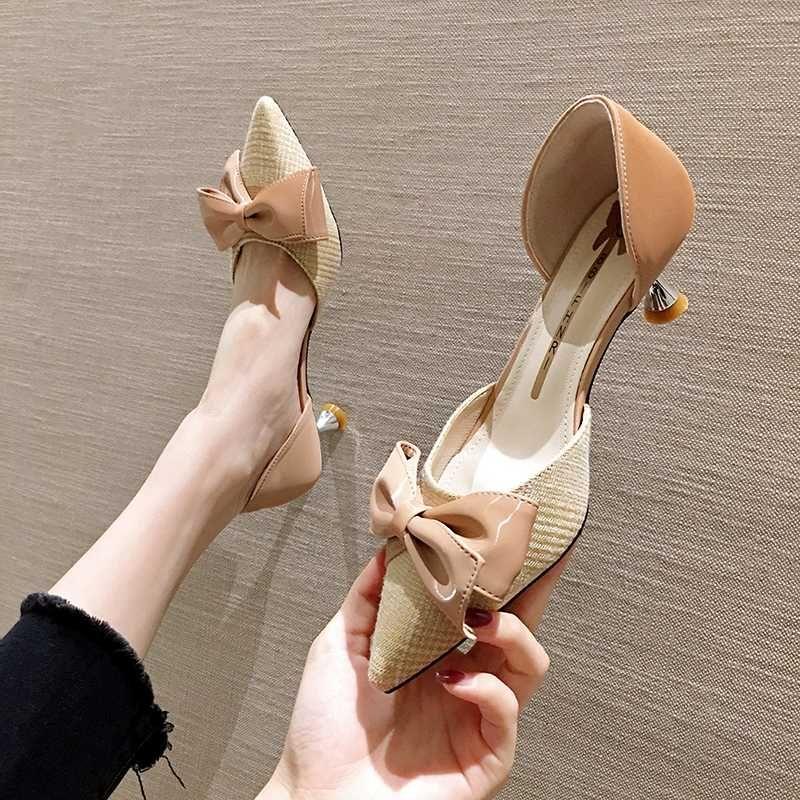 D'orsay ince ilmek metal topuk ayakkabılar mujer 2020 kore stiletto topuklu zapatos son moda bayanlar kumaş kayma menfezler pompaları
