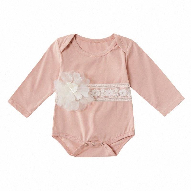 2020 2020 Infrant Bébés filles Automne Printemps manches longues col rond Dentelle Fleur Brochage Jumpsuit Romper gros fTsf #