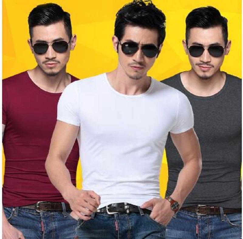 2020 hommes T-shirt Spandex Fitness Gym Vêtements Homme T-shirts T-shirt Hauts Homme solides Couleur T-shirts multi-couleurs T-shirt XS-XXL