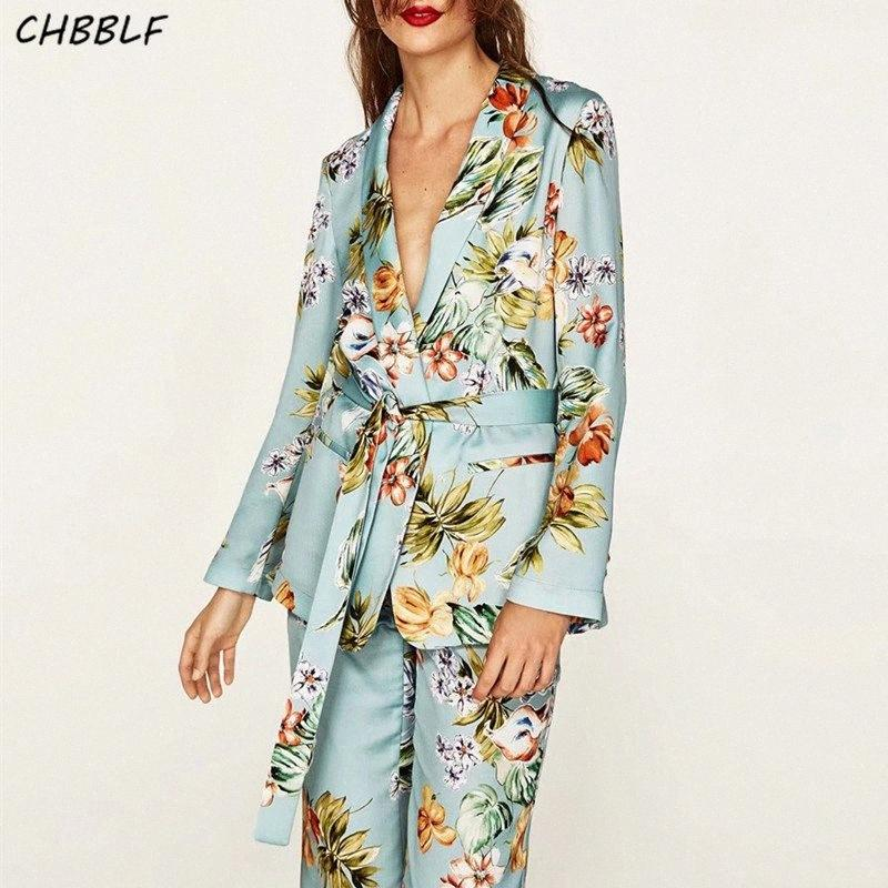 Spring New European Flower Print Women Blazer Coat Casual Ladies Blazer Jacket Pop472 ZmBh#