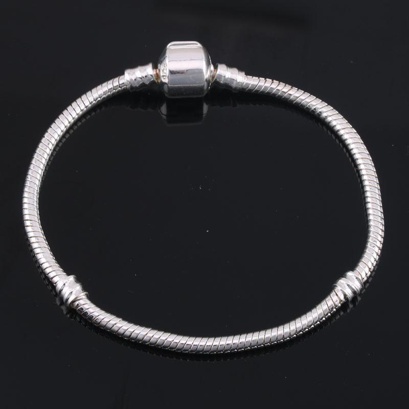 2020 3mm 16-23cm 925 Silber überzogene Armband-Kette mit Fass-Haken-passender europäischer Armband Großhandel Schlangenkette