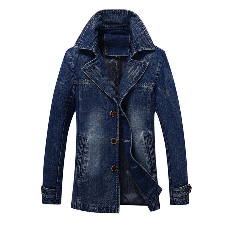 Idopy Men`s Denim Trenchcoat Cowboy lange Art-Geschäft Vintages gewaschene Slim Fit Jeans-Jacke für Männer