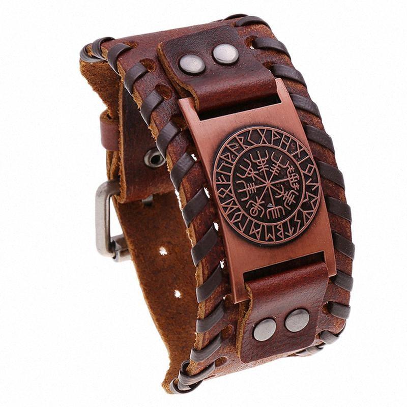 Pelle 1Pc Bracciale braccialetto dell'annata di moda in pelle Wristband Retro Wristband Cuff bambini ragazzi uomini donne (rosso antico rame) ISFw #