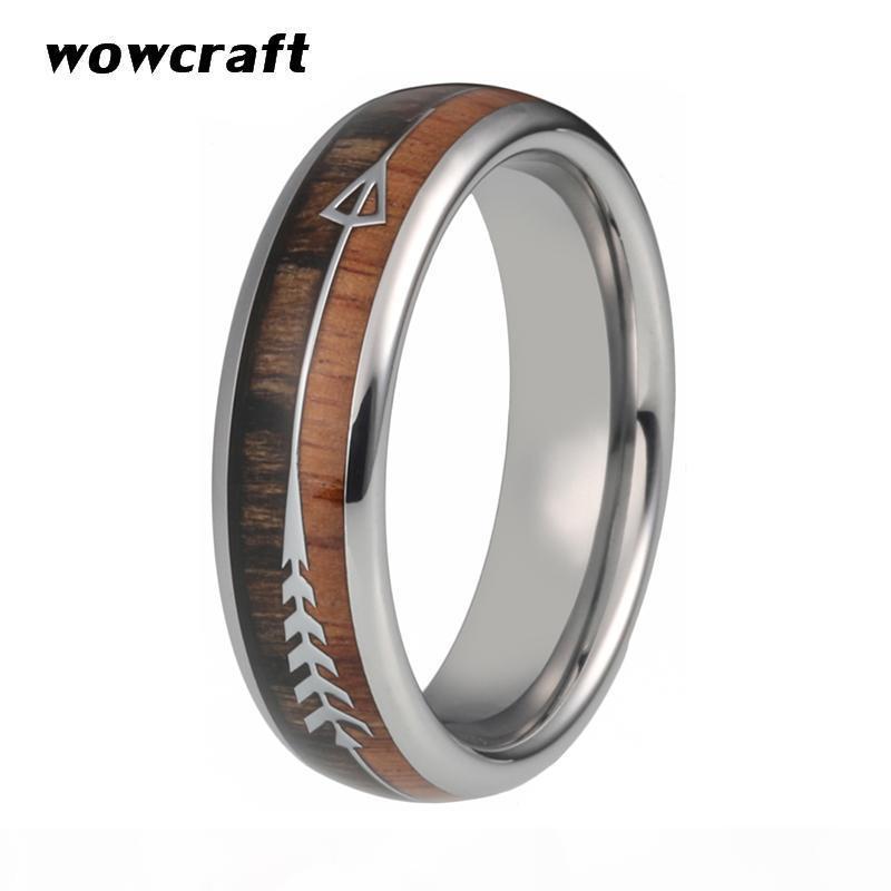 6 millimetri tre stili delle donne del carburo di tungsteno anelli per i monili di cerimonia nuziale del Mens Wedding Bands Koa Wood Freccia intarsio lucido Anello