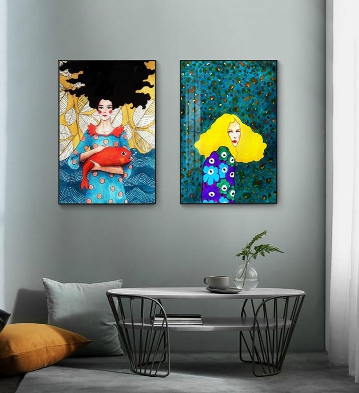 Moderne nordische Art bunte Charaktere Leinwand-Malerei Zusammenfassung Mädchen Porträt Poster Wand-Kunst-Bilder für Schlafzimmer Wohnkultur