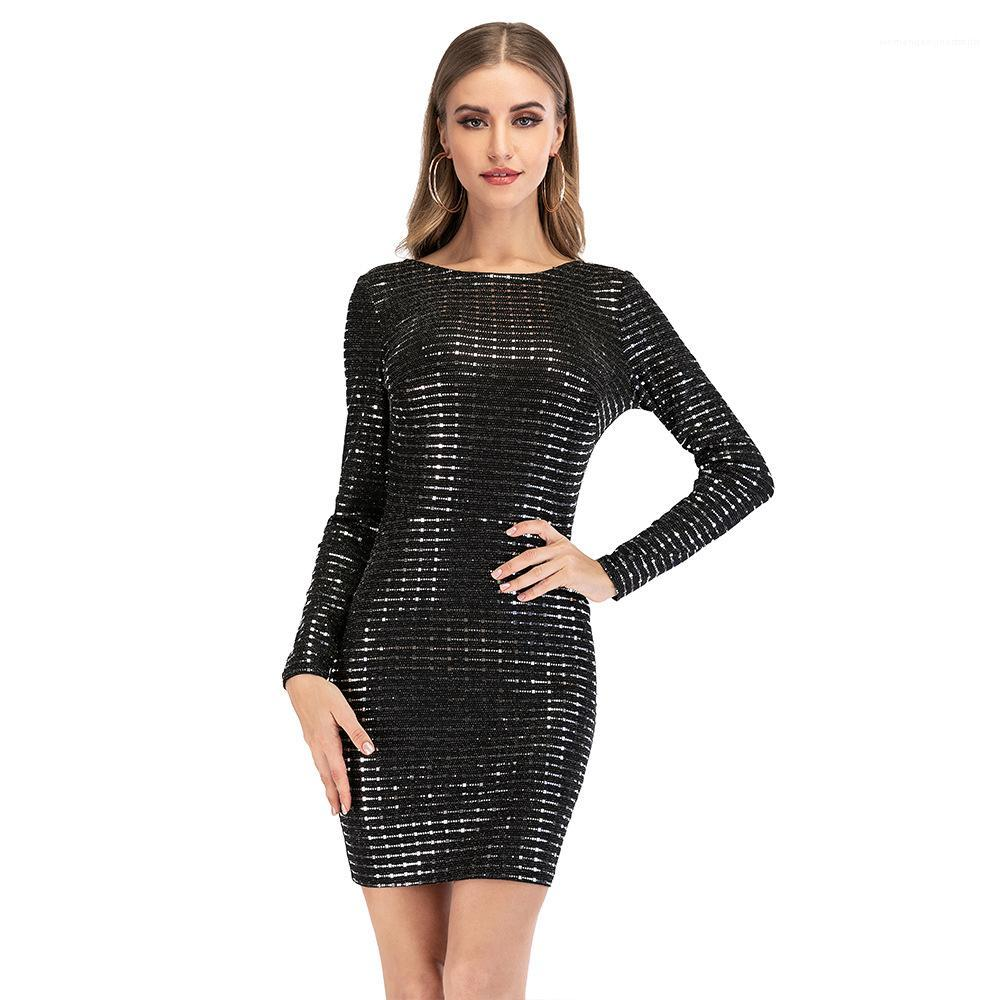 Casual Fashion Ladies Clothing Sequins Open Back Womens Dresses Long Sleeve Skinny Sexy Women Dress Summer