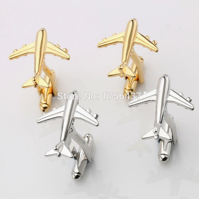 Lepton Fashion Styling Mens Hot Sale Real Tie Clip AirPlane Cuff links Plane Design Cufflinks For Men Gifts