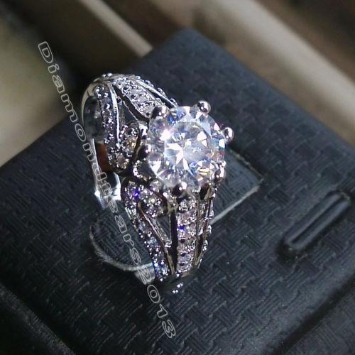 Key4fashion 1.5ct lujo Size5-10 marca de joyería de oro blanco de 10 quilates piedras preciosas lleno de topacio blanco anillo de bodas de compromiso withbox regalo mother'day