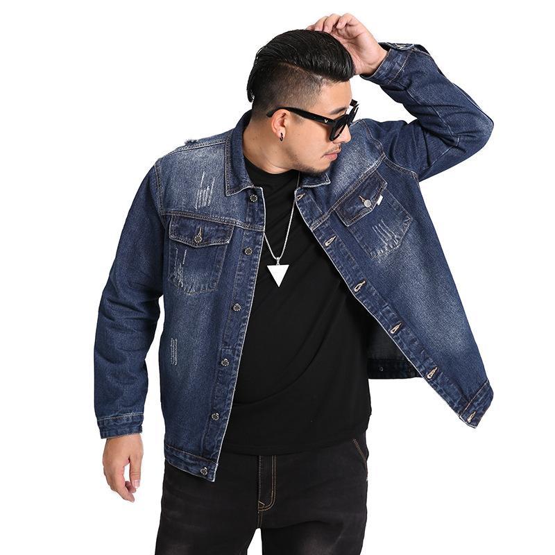 Big Size Herren Jeansjacke 2020 Herbst-Frühling-neue beiläufige lose Mens Jeans Jacke Marke Cotton Mäntel Männlich Schwarz Blau 5XL 6XL 7XL