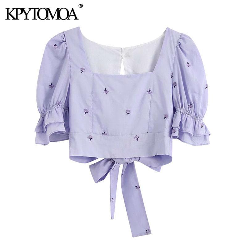 KPYTOMOA Femmes 2020 Doux Mode broderie florale recadrée Blouses Vintage Pull manches Retour Noeud papillon Femme Chemises Hauts Chic T200720