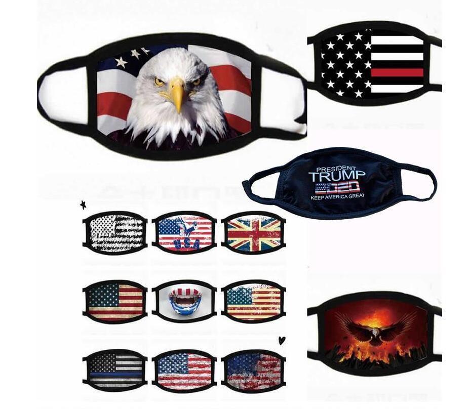 Trump Supplies élection américaine anti-poussière Imprimer Drapeau américain Lavable Réutilisable Masques visage Masques de coton bouche AHC105