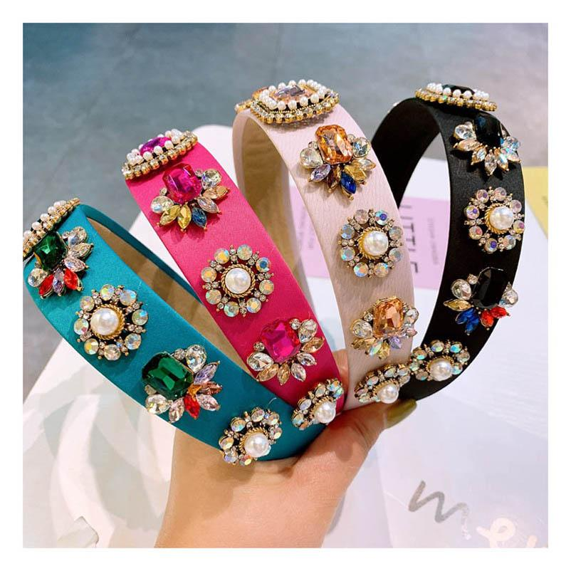 Boutique diamond girls hair sticks pearl children headbands crystal girls designer headband rhinestone hair accessories for kids B1885