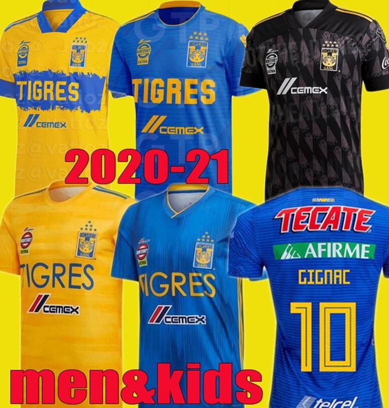 남자 아이 2020 2021 UANL 타이거스 GIGNAC 축구 유니폼 키트 (19 개) (20) (21) 바 가스 Camiseta 마이 홈 멀리 셋째 피사로 멕시코 축구 셔츠