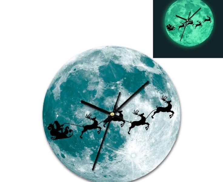 2020 Yaratıcı ışıklı duvar saati 30cm gece lambası ay earth gezegen saat aydınlık duvar saati akrilik dekoratif