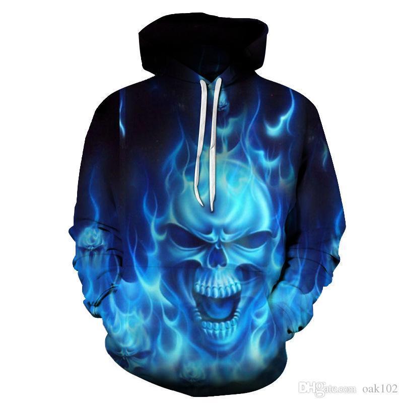 공장 아울렛 스컬 디지털 인쇄 3D 스웨터 커플 부부 크기 3D 후드 스웨터 야구 유니폼