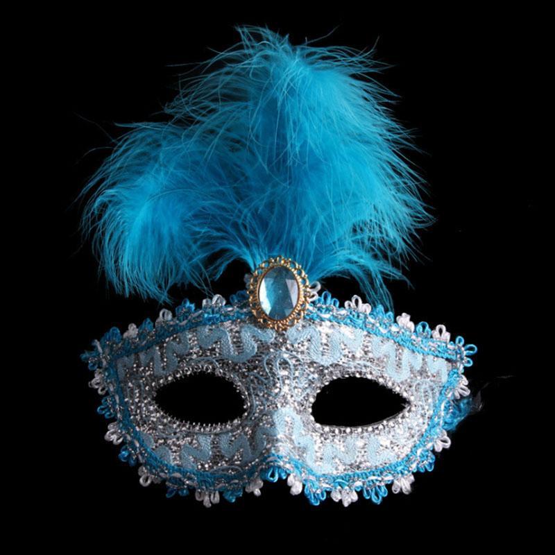 On Sale Maske Half Face Partei Lamellens Maskerade-Feder-Masken Gold Flaum Federmaske Tanzparty Maske Mischungsfarbe Plattierung