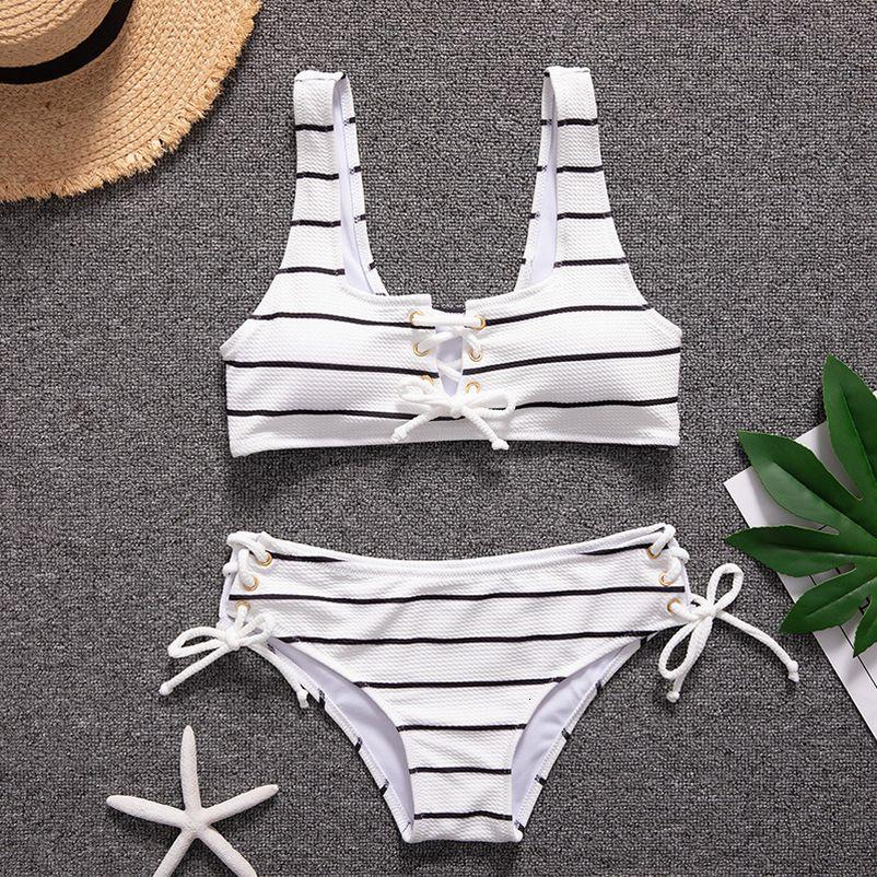 Seksi Beyaz Çizgili Bandaj Bikini Kadınlar Lace Up Tüp Üst Mayo Mayo Push Up Destekli Yüksek Bel Mayo biquini