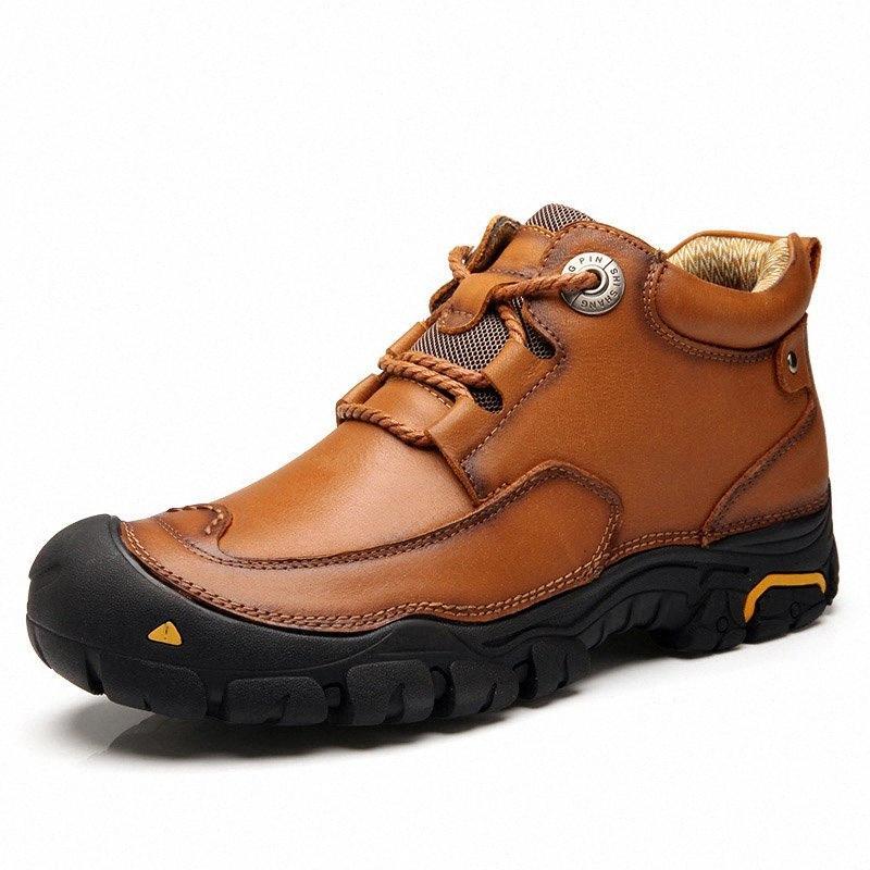 Youki Hommes Bottines 2019 travail Automne Hiver bottes en cuir véritable Homme Chaussures Casual Chaussures marche en plein air Big Taille Béon #