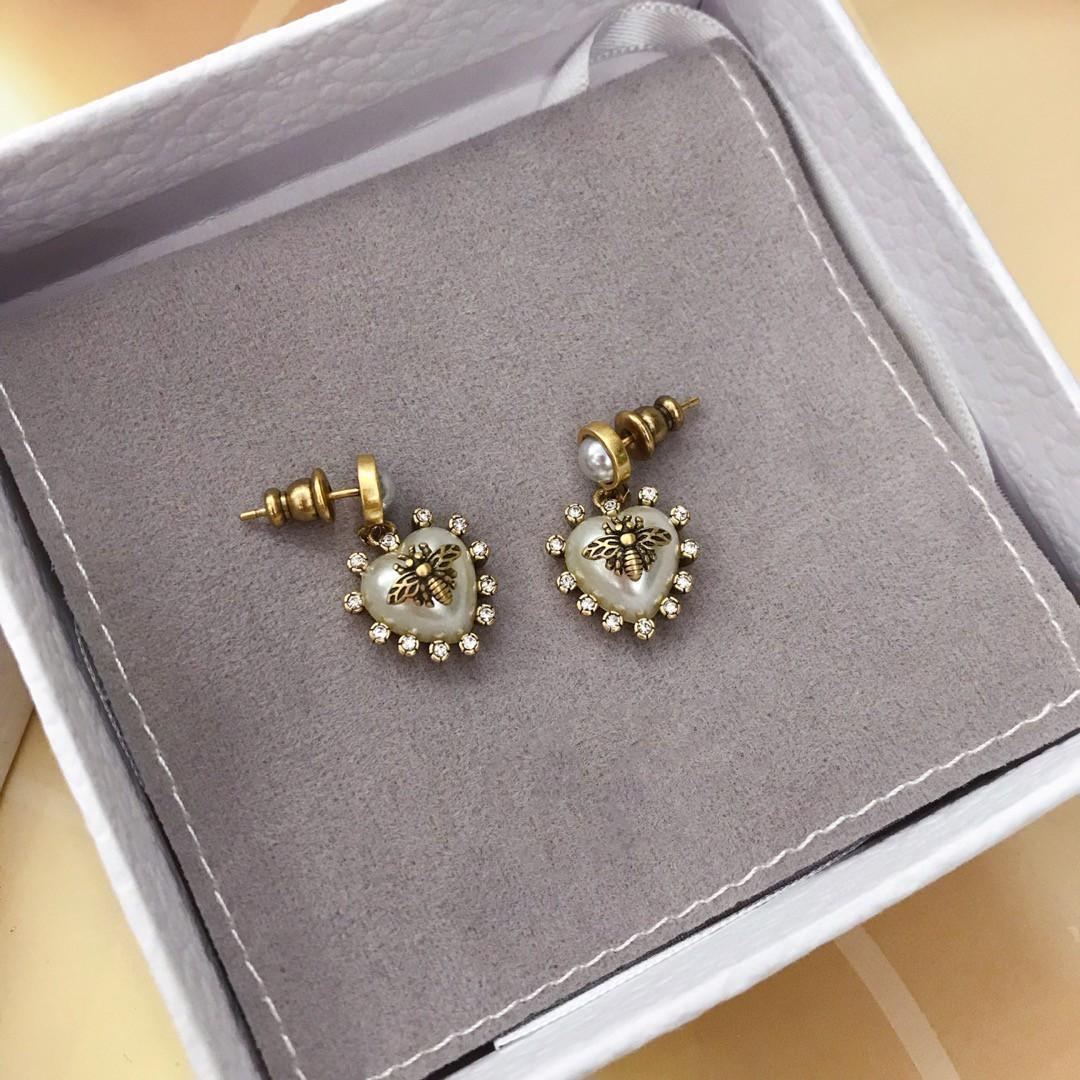 Explosion petite boucles d'oreilles de créateurs de diamant perle d'amour d'abeille femmes bijoux design de luxe boucles d'oreilles