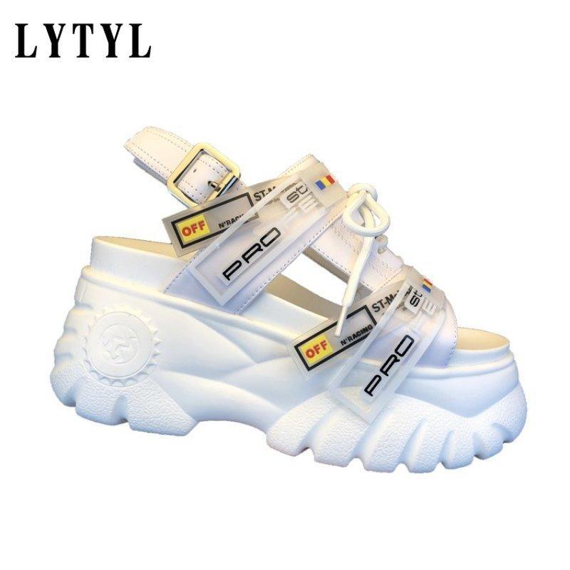 Verão Chunky Sandals Mulheres oito centímetros Wedge sapatos de saltos Feminino Buckle Plataforma Couro Casual Chinelos do verão Mulher Sandal E-92 cs08