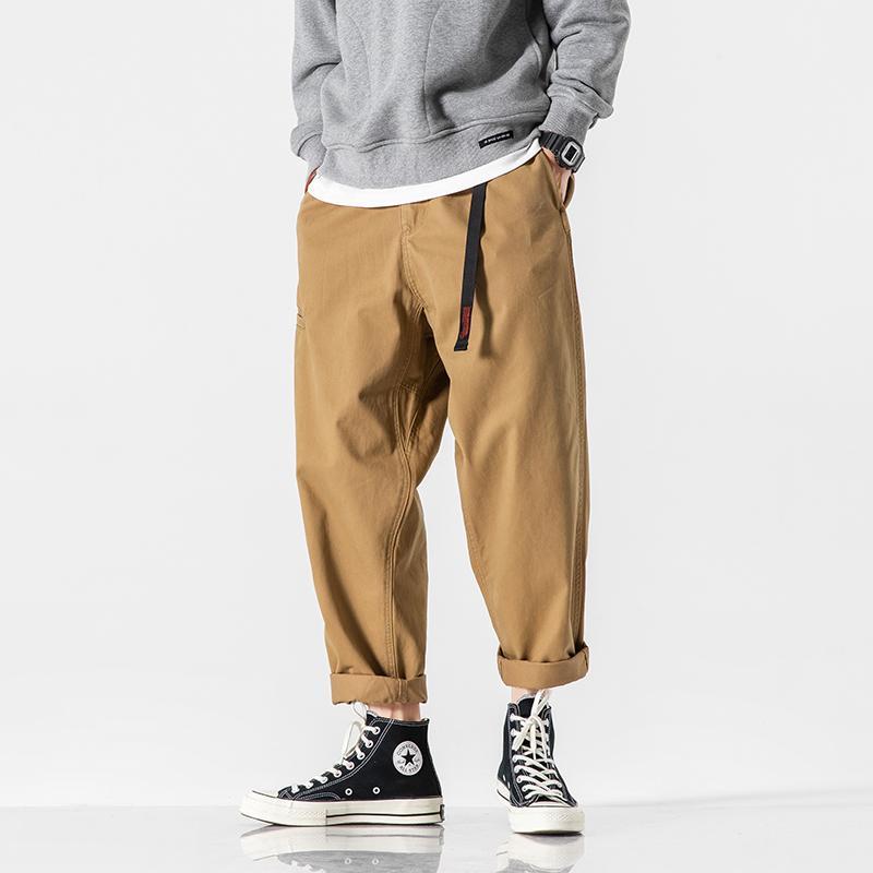 Мужчина Сыпучие Гарем голеностопного Длина Cargo Pant Мужчины Япония Streetwear Мода Упругие Пояс Свободный Свободный Гаремные