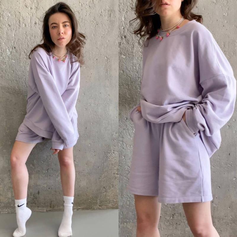 Femmes Survêtements Ensemble 2 pièces Summmer automne Oversize Sweat + Sporting Shorts Sweat Ensemble de deux pièces Outfit solides ensembles de couleurs