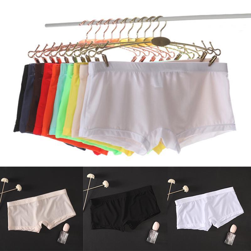 M-2XL شفاف رجال مثير سلس الملابس الداخلية الملابس الداخلية Boxershorts ملابس ذكر منتصف الارتفاع شبكة الزلات هوم الملابس الداخلية الملاكم السراويل