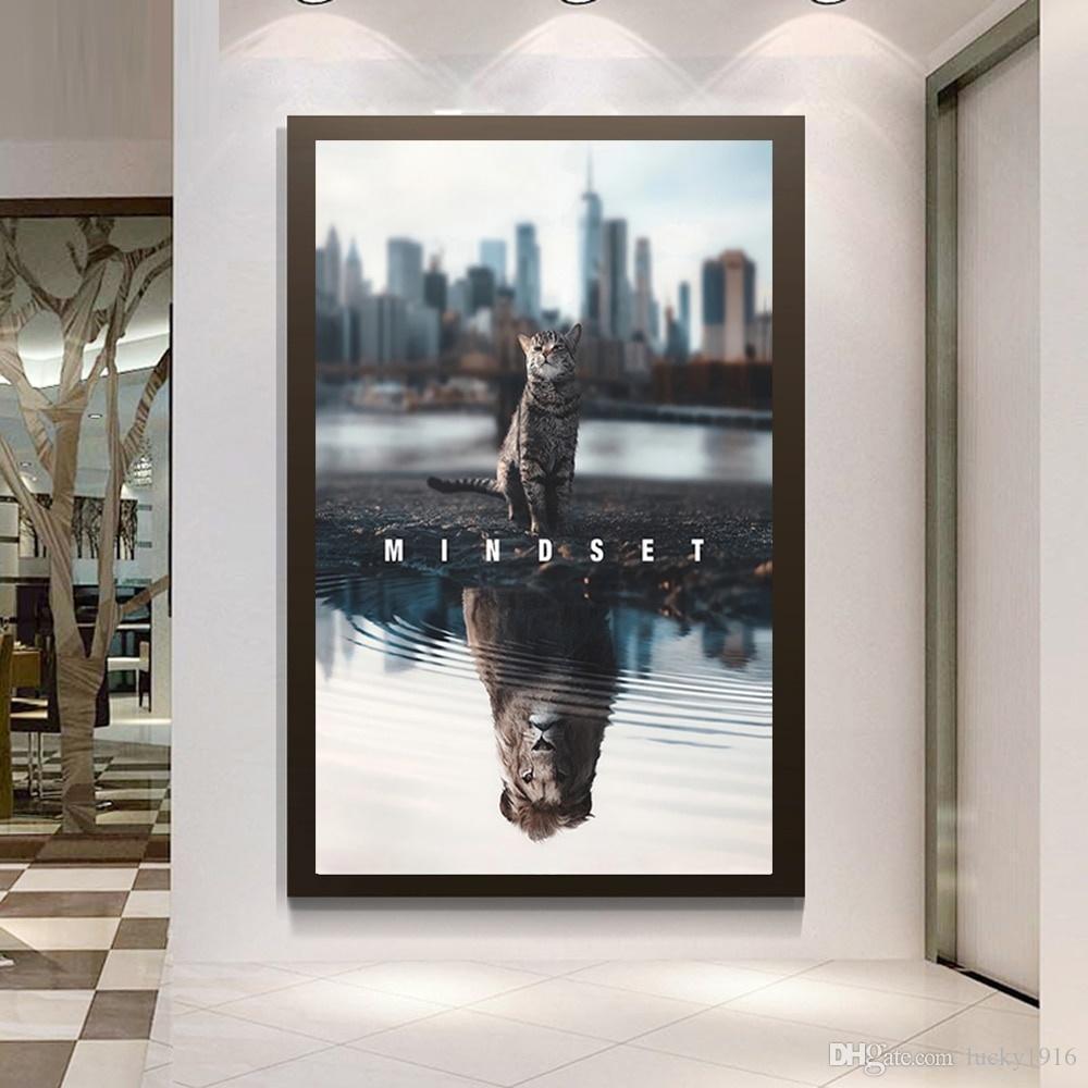 Mindset Is Herşey Kedi Boyama Motivasyonel Poster Sanat Tuval Ofis Ev Dekorasyonu için bir Aslan İlham Wall Art Picture içine değiştirildi