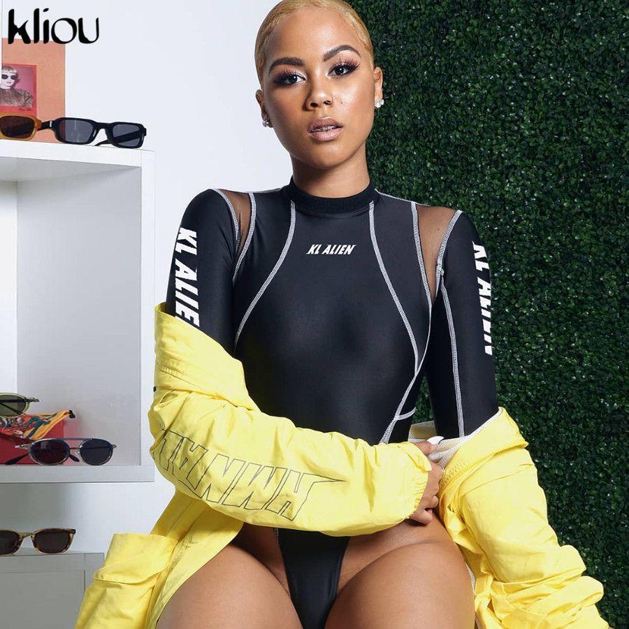 Kliou mulheres luva cheia bodysuits gola alta de malha patchwork carta de impressão 2019 nova moda Exercício fêmea de rua rompers casuais T200721